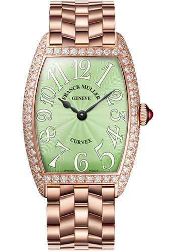 Franck Muller Watches - Cintre Curvex - Quartz - 25 mm Rose Gold - Dia Case - Bracelet - Style No: 1752 QZ D O 5N Pastel Green