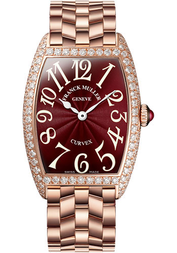 Franck Muller Watches - Cintre Curvex - Quartz - 25 mm Rose Gold - Dia Case - Bracelet - Style No: 1752 QZ D O 5N Red