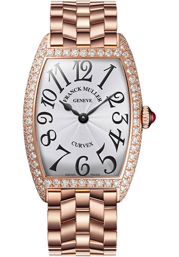 Franck Muller Watches - Cintre Curvex - Quartz - 25 mm Rose Gold - Dia Case - Bracelet - Style No: 1752 QZ D O 5N White