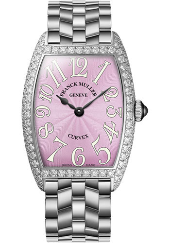 Franck Muller Watches - Cintre Curvex - Quartz - 25 mm Platinum - Dia Case - Bracelet - Style No: 1752 QZ D O PT Pink