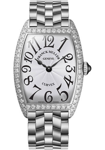 Franck Muller Watches - Cintre Curvex - Quartz - 25 mm Platinum - Dia Case - Bracelet - Style No: 1752 QZ D O PT White