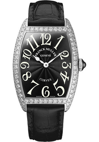 Franck Muller Watches - Cintre Curvex - Quartz - 25 mm Platinum - Dia Case - Strap - Style No: 1752 QZ D PT Black