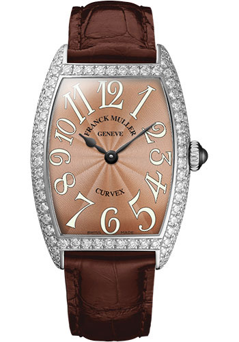 Franck Muller Watches - Cintre Curvex - Quartz - 25 mm Platinum - Dia Case - Strap - Style No: 1752 QZ D PT Bronze