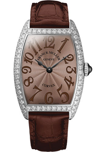 Franck Muller Watches - Cintre Curvex - Quartz - 25 mm Platinum - Dia Case - Strap - Style No: 1752 QZ D PT Chocolate