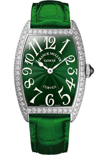 Franck Muller Watches - Cintre Curvex - Quartz - 25 mm Platinum - Dia Case - Strap - Style No: 1752 QZ D PT Green