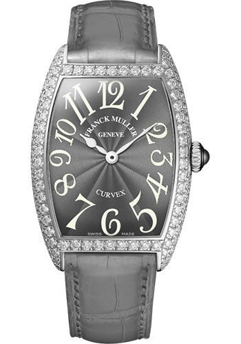 Franck Muller Watches - Cintre Curvex - Quartz - 25 mm Platinum - Dia Case - Strap - Style No: 1752 QZ D PT Grey