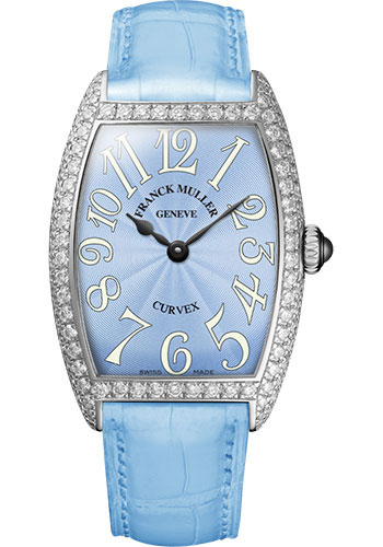 Franck Muller Watches - Cintre Curvex - Quartz - 25 mm Platinum - Dia Case - Strap - Style No: 1752 QZ D PT Pastel Blue