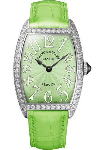 Franck Muller Watches - Cintre Curvex - Quartz - 25 mm Platinum - Dia Case - Strap - Style No: 1752 QZ D PT Pastel Green