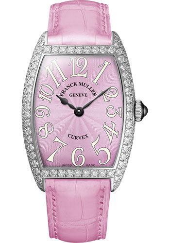 Franck Muller Watches - Cintre Curvex - Quartz - 25 mm Platinum - Dia Case - Strap - Style No: 1752 QZ D PT Pink