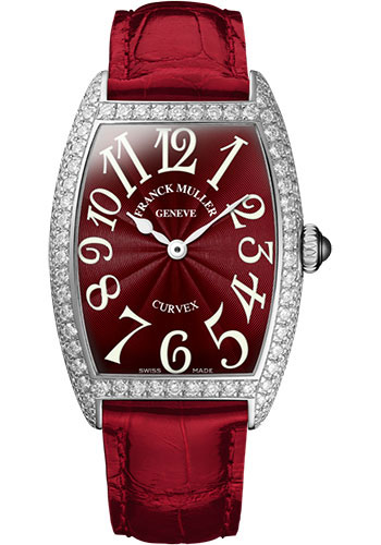 Franck Muller Watches - Cintre Curvex - Quartz - 25 mm Platinum - Dia Case - Strap - Style No: 1752 QZ D PT Red