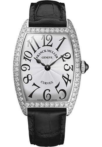 Franck Muller Watches - Cintre Curvex - Quartz - 25 mm Platinum - Dia Case - Strap - Style No: 1752 QZ D PT White Black