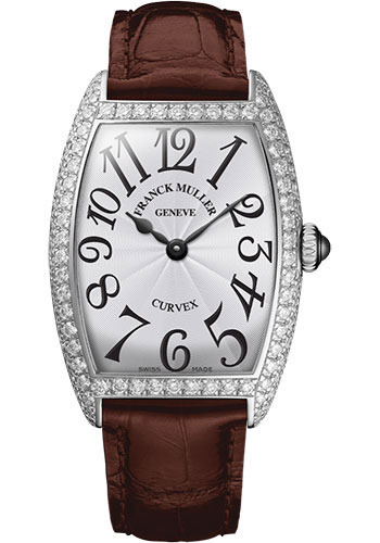 Franck Muller Watches - Cintre Curvex - Quartz - 25 mm Platinum - Dia Case - Strap - Style No: 1752 QZ D PT White Brown