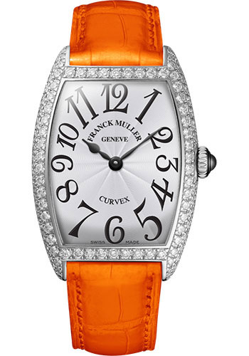 Franck Muller Watches - Cintre Curvex - Quartz - 25 mm Platinum - Dia Case - Strap - Style No: 1752 QZ D PT White Orange