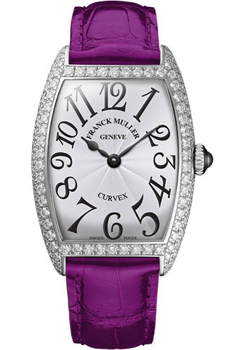 Franck Muller Watches - Cintre Curvex - Quartz - 25 mm Platinum - Dia Case - Strap - Style No: 1752 QZ D PT White Purple