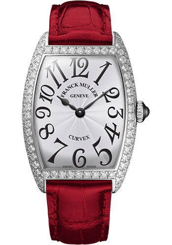 Franck Muller Watches - Cintre Curvex - Quartz - 25 mm Platinum - Dia Case - Strap - Style No: 1752 QZ D PT White Red