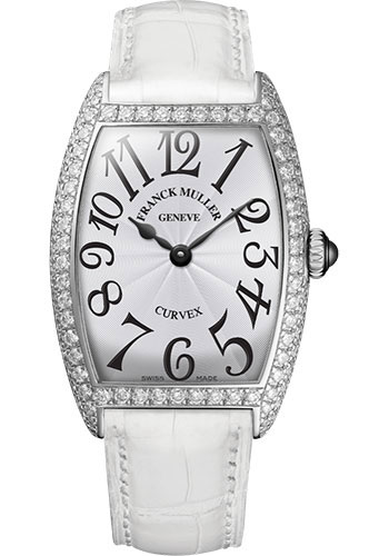 Franck Muller Watches - Cintre Curvex - Quartz - 25 mm Platinum - Dia Case - Strap - Style No: 1752 QZ D PT White White