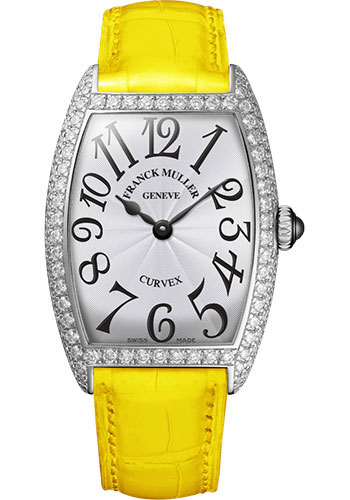 Franck Muller Watches - Cintre Curvex - Quartz - 25 mm Platinum - Dia Case - Strap - Style No: 1752 QZ D PT White Yellow
