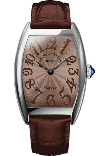 Franck Muller Watches - Cintre Curvex - Quartz - 25 mm Platinum - Strap - Style No: 1752 QZ PT Chocolate