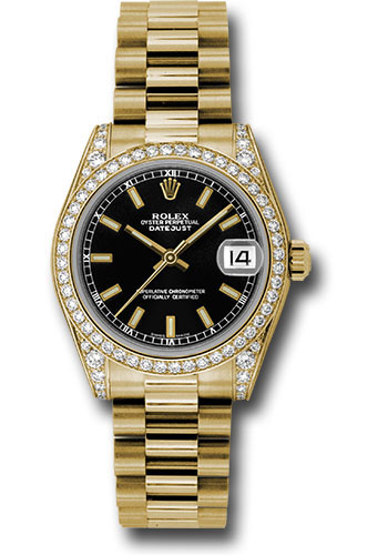 Rolex Watches - Datejust 31 Yellow Gold - Dia Bezel - Dia Case - President - Style No: 178158 bkip