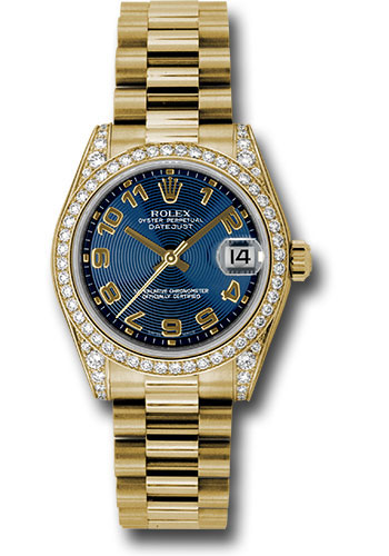 Rolex Watches - Datejust 31mm - Gold President Yellow Gold - Dia Bezel - Dia Case - Style No: 178158 blcap