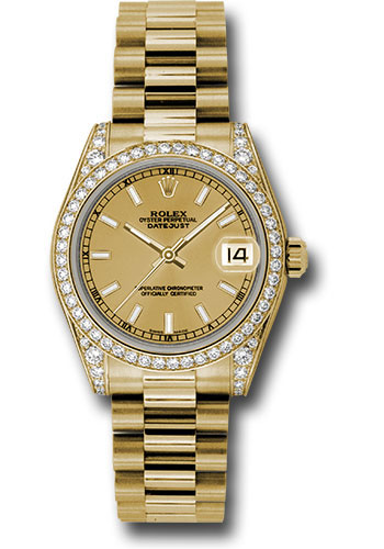 Rolex Watches - Datejust 31mm - Gold President Yellow Gold - Dia Bezel - Dia Case - Style No: 178158 chip