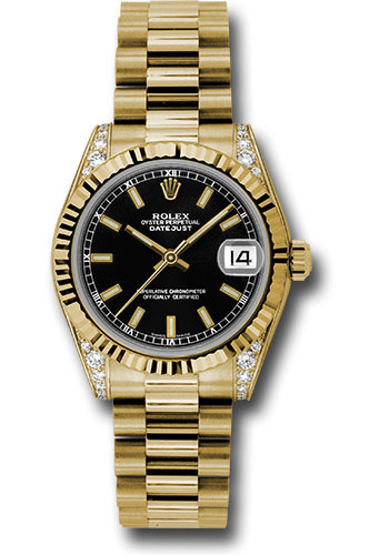 Rolex Watches - Datejust 31mm - Gold President Yellow Gold - Fluted Bezel - Dia Case - Style No: 178238 bkip