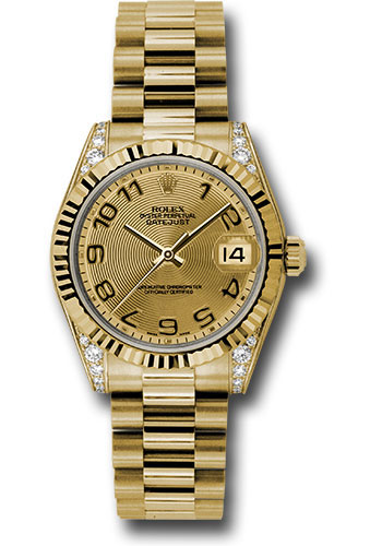 Rolex Watches - Datejust 31mm - Gold President Yellow Gold - Fluted Bezel - Dia Case - Style No: 178238 chcap