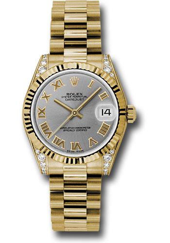 Rolex Watches - Datejust 31mm - Gold President Yellow Gold - Fluted Bezel - Dia Case - Style No: 178238 grp
