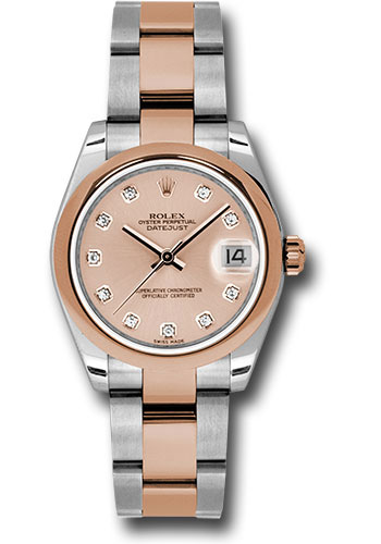 Rolex Watches - Datejust 31mm - Steel and Gold Pink Gold - Domed Bezel - Oyster - Style No: 178241 pchdo
