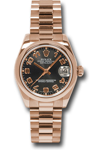 Rolex Watches - Datejust 31 Pink Gold - Domed Bezel - President - Style No: 178245 bkap