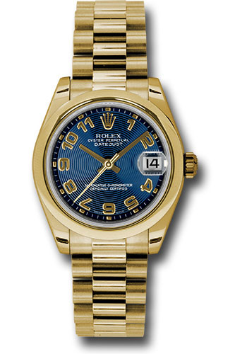 Rolex Watches - Datejust 31mm - Gold President Yellow Gold - Domed Bezel - Style No: 178248 blcap