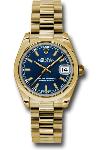 Rolex Watches - Datejust 31mm - Gold President Yellow Gold - Domed Bezel - Style No: 178248 blip