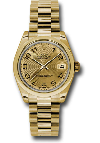Rolex Watches - Datejust 31mm - Gold President Yellow Gold - Domed Bezel - Style No: 178248 chcap