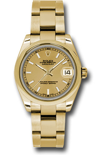 Rolex Watches - Datejust 31 Yellow Gold - Domed Bezel - Oyster - Style No: 178248 chio