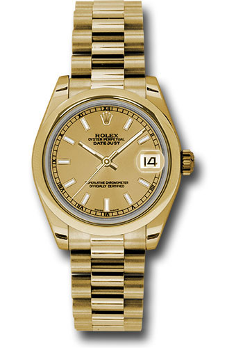 Rolex Watches - Datejust 31mm - Gold President Yellow Gold - Domed Bezel - Style No: 178248 chip