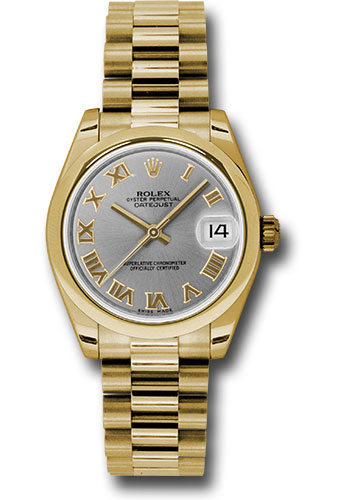 Rolex Watches - Datejust 31mm - Gold President Yellow Gold - Domed Bezel - Style No: 178248 grp