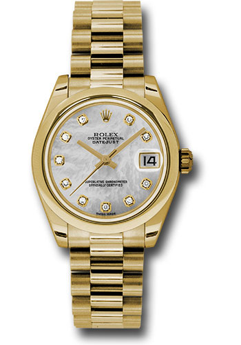 Rolex Watches - Datejust 31mm - Gold President Yellow Gold - Domed Bezel - Style No: 178248 mdp