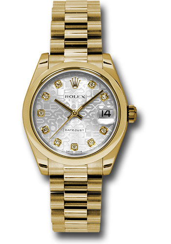 Rolex Watches - Datejust 31mm - Gold President Yellow Gold - Domed Bezel - Style No: 178248 sjdp