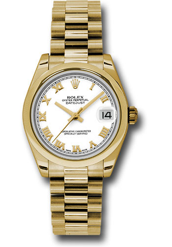 Rolex Watches - Datejust 31mm - Gold President Yellow Gold - Domed Bezel - Style No: 178248 wrp