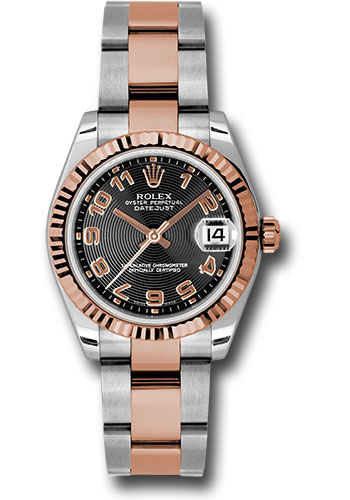 Rolex Watches - Datejust 31 Steel and Pink Gold - Fluted Bezel - Oyster - Style No: 178271 bkcao