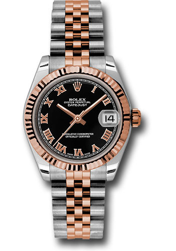 Rolex Watches - Datejust 31mm - Steel and Gold Pink Gold - Fluted Bezel - Jubilee - Style No: 178271 bkrj