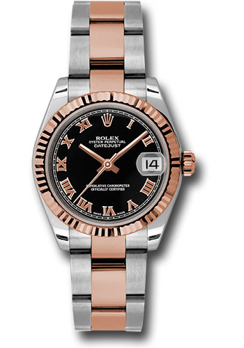 Rolex Watches - Datejust 31mm - Steel and Gold Pink Gold - Fluted Bezel - Oyster - Style No: 178271 bkro