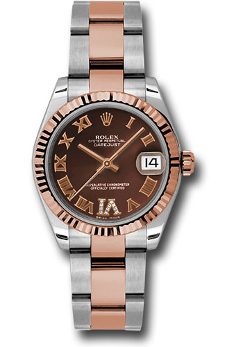 Rolex Watches - Datejust 31mm - Steel and Gold Pink Gold - Fluted Bezel - Oyster - Style No: 178271 chodro
