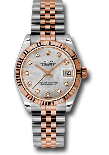 Rolex Watches - Datejust 31mm - Steel and Gold Pink Gold - Fluted Bezel - Jubilee - Style No: 178271 mdj