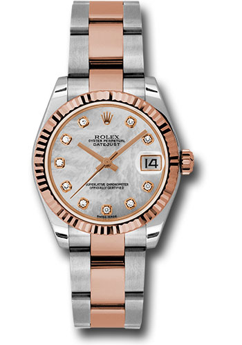 Rolex Watches - Datejust 31mm - Steel and Gold Pink Gold - Fluted Bezel - Oyster - Style No: 178271 mdo