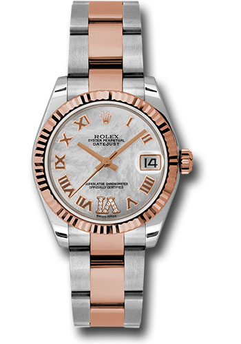 Rolex Watches - Datejust 31mm - Steel and Gold Pink Gold - Fluted Bezel - Oyster - Style No: 178271 mdro