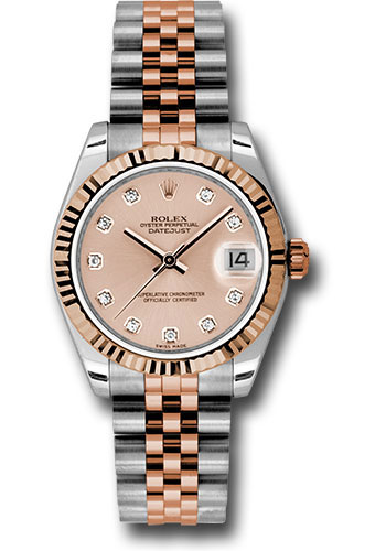 Rolex Watches - Datejust 31mm - Steel and Gold Pink Gold - Fluted Bezel - Jubilee - Style No: 178271 pchdj