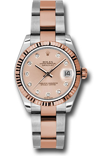 Rolex Watches - Datejust 31mm - Steel and Gold Pink Gold - Fluted Bezel - Oyster - Style No: 178271 pchdo