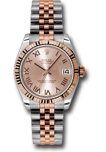 Rolex Watches - Datejust 31mm - Steel and Gold Pink Gold - Fluted Bezel - Jubilee - Style No: 178271 prj