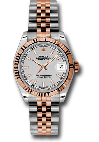 Rolex Watches - Datejust 31mm - Steel and Gold Pink Gold - Fluted Bezel - Jubilee - Style No: 178271 sij